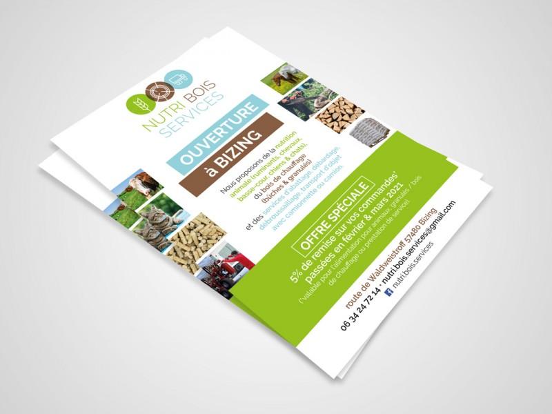 photo  Nutri Bois Services ouvre ses portes à Bizing   Lancée récemment,  Nutri Bois Services  propose de la  nutrition animale  (ruminants, chevaux, basse-cour, chiens & chats), du  bois de chauffage  ( bûches & granulés ) et des  services d'abattage, débardage, débroussaillage, transport d'objet  avec camionnette ou camion. J'ai réalisé pour cette société le flyer de présentation ainsi que le logotype.